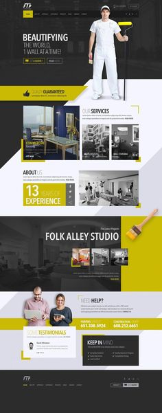 Responsive Yellow, black & white Web design plus development for a Painting company With an Attractive Revolution Parallax Slider - New Version. Web Design Black, Simple Web Design, Creative Web Design, Web Design Tips, Design Strategy, Web Design Company, Page Design, Blog Design, Clean Design