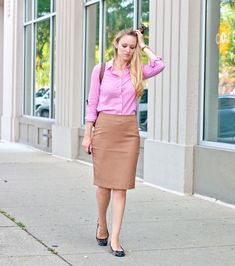 The Limited high waist pencil skirt in camel, thrifted j crew gingham button down, leopard flats, longchamp le pliage tote, kate spade watch