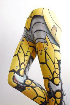 Bionic Leggings  Size XXXL Yellow  Printed Metal Robot by Mitmunk