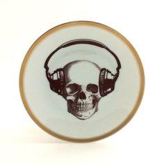 Altered Music Skull Plate Porcelain Headphones Decor Vintage Musician Golden Trim White Fun Funny Human