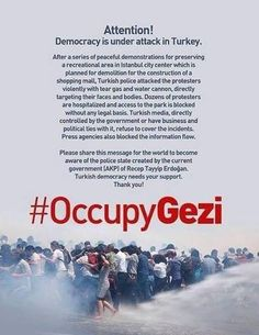 .@RT_Erdogan intervene immediately to end the excessive and brutal use of force by police @aforgutu # direngeziparkı # occupygeziPlease .@RT_Erdogan Turkish authorities must allow the right to peaceful protest of the demonstrators @aforgutu # direngeziparkı # occupygezi