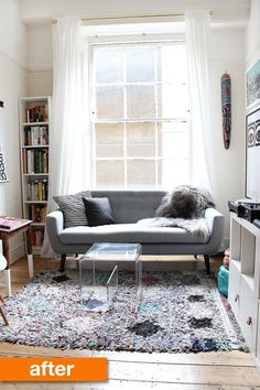 Before & After: A Year-Long Living Room Transformation // Love this B&A and also what the homeowner had to say about discovering her style and slowly changing the space until they got it the way they wanted it.