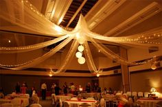 This wedding reception at a church cultural hall doesn't look too bad.  Creative ceiling decorations.