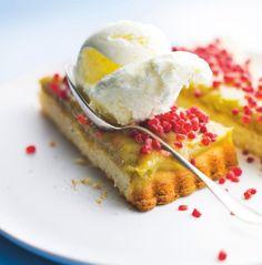 Recette : Dessert glacé à la #rhubarbe et #yaourt, sablé thym citron. #Picard