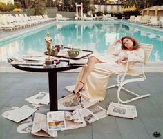 A contemplative Faye Dunaway at the Beverly Hills Hotel pool on the morning after she won the Oscar for Best Actress in Network, 1977 - I sat next to her in church once on Easter Sunday. True story.