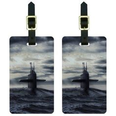 Nuclear Submarine at Sea Luggage Tags Suitcase Carry-On ID, Set of 2, Multicolor