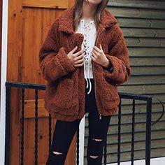 2018 Elegant Faux Fur Coat Women Autumn Winter Warm Soft Zipper Fur Jacket Coat Female Plush Overcoat Casual Outerwear Plus Size Look Fashion, Autumn Fashion, Korean Fashion, Fashion Women, Fashion Clothes, Fashion Outfits, Fashion Ideas, Fashion Coat, Jeans Fashion