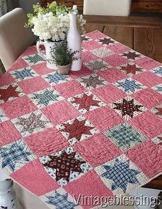 "Authentic Antique c1880 LeMoyne Stars Crib QUILT 47x41""Beautiful Fabrics!"