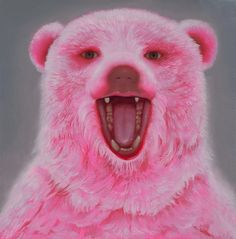 "Aniela Sobieski / ""Pink Bear""/ oil on panel / 11"" x 11"" / 2013"
