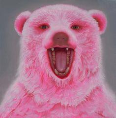 "Aniela Sobieski / ""Pink Bear""/ oil on panel / 11"" x 11"" / 2013"