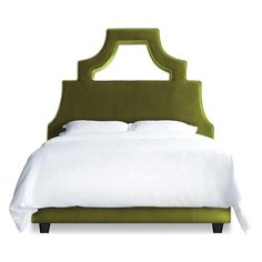 """The Natalie is all about drama. Its unique cut out design adds extra pizazz to any room. Some assembly required. Legs come separate from bed and must be attached to the underside of the bed. Side and Foot rails must be attached.  *Shown in Moss Velvet. Note that fabric may appear different on your screen, for most accurate color please call for a fabric swatch. *Call to order in other fabric options  Headboard Dimensions:  Full: 56""""W x 5.1""""D x 64""""H Queen: 62""""W x 5.1""""D x 64""""H King: 83..."""