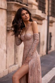 Rose Gold Formal/Prom Gown - Alamour The Label Gown With Slit, The Dress, Gold Formal Dress, Formal Dresses, Formal Prom, Black Mermaid Dress, Long Sleeve Gown, Russian Beauty, Special Dresses