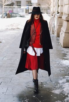 Get this look: http://lb.nu/look/8580701  More looks by Andreea Birsan: http://lb.nu/andreeabirsan  Items in this look:  Black Fedora Hat, Burgundy Leather Jacket, Red Cashemere Turtleneck Sweater, Black Maxi Coat, Red Midi Pleated Skirt, Biker Boots, Fishnet Tights   #casual #minimal #street #andreeabirsan #couturezilla #bucharest #buchareststreetstyle #andreeabirsanstreetstyle #romanianblog