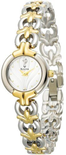 Bulova Women's 98P15 Diamond Accented Two-Tone Watch Bulova. $139.00. Quality Japanese-Quartz movement. Mineral crystal. Case diameter: 20 mm. Tone-tone-stainless-steel case; Silver-textured dial