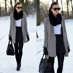 Choies Skirt, Vjstyle Houndstooth Coat