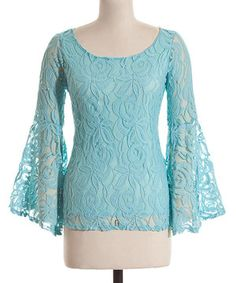 Another great find on #zulily! Coveted Clothing Aqua Lace Flare Sleeve Scoop Neck Top by Coveted Clothing #zulilyfinds