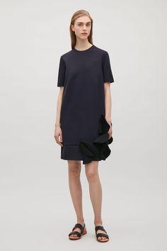 COS image 1 of A-line applique dress in Dark Navy