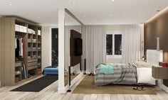 Quarto de Casal Completo de 14,10 m² com Cabeceira, Painel para TV, Guarda-roupa Closet Modulado e Nichos Suspensos Nogueira/Tabaco/Branco - Caaza