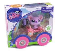 Littlest PET Shop Pets on the Go #2102 (Koala & Car) by Hasbro. $17.99. Part of the Littlest Pet Shop Pets on the Go Collection. Pet # 2101. Includes: pet, vehicle and accesories. Koala on The Go. Collect them all (each Pet sold separately). Get ready for traveling fun! This adorable Koala bear pet has his own convertible for visits to his friends or playing at his own house. Put his surf board in the back, and remember to put his sunglasses on his head. Where will you ta...