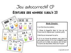 Dans ma lancée d'hier, avec mes grilles, j'ai fait ce jeu auto correctif, plus abordable en début de CP ( il suffit de le scinder en 2: nombres jusqu'à 10 dans un premier temps, nombres jusqu'à 20 ensuite). 5 jeux en 1: - grilles - dés - doigts - constellations... Math Gs, Act Math, Montessori Math, Primary Maths, French Class, Math Numbers, Cycle 3, 1st Grade Math, Math Stations