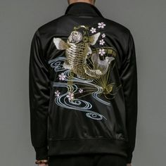 Embroidered fish bomber jacket for winter wear men fans Chinese style