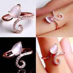 Delicate Natural Opal 925 Sterling Silver Rose Gold Plated Women's Ring Enamel Jewelry, Jewelry Art, Antique Jewelry, Gold Jewelry, Fine Jewelry, Fashion Jewelry, Jewlery, Fancy Jewellery, Right Hand Rings