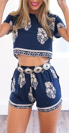 Pretty Thang Two-Piece Romper - Navy Blue