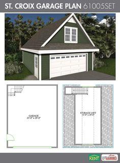 St. Croix Garage Plan. 24' x 30'. 2-car garage. 551 sq. ft. bonus room.(61005SET) Kent Building Supplies #GaragePlan