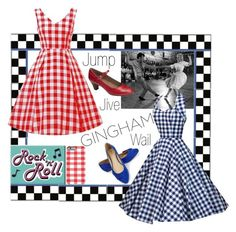 """Gingham Dress"" by sabrepinkt ❤ liked on Polyvore featuring A2 by Aerosoles, JustFab, retro, gingham and sockhop"