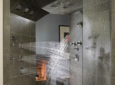 Using multiple shower heads lets you choose assortment of water streams. Multiple shower heads are an upscale feature now being included in some bathroom remodels. Kohler Shower, Bathroom Shower Heads, Spa Shower, Kohler Spa, Master Bathroom, Body Shower, Luxury Shower, Master Shower, Glass Shower