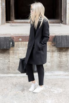 "Aritzia Wilfred Maison Wool Coat Black (similar here) | Aritzia Babaton Cohen Pant Black (similar here) | Aritzia Babaton Hamish Blouse Black (similar here) | Alexander Wang Prisma Skeletal Satchel Black (similar here) | Converse All Stars White | Prism London ""Moscow"" Sunglasses Cream Tortoise"