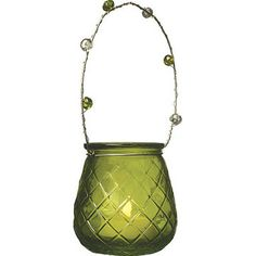 Chartreuse Green Hanging Vintage Glass Tealight Holder & Vase (diamond cut design).  Glass dimensions: 2 inches x 2.75 inches high. Playfully painted vessels. Glass with beaded handles. Can be hung or placed on flat surface. Perfect for weddings! For use with tea light candles, battery lights or flowers.