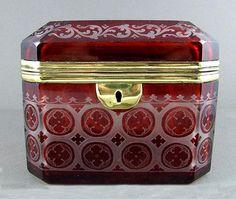 19c Bohemian Cut to Clear Ruby Glass Jewelry Box / Sugar Casket