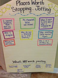"We want readers to constantly be thinking and developing ideas and theories while they read, so using ""stop and jots"" (post it notes) help ..."