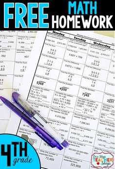 Free Math Homework for 4th grade. This 4th grade math homework is aligned with the common core math standards. Can also be used as morning work or centers.