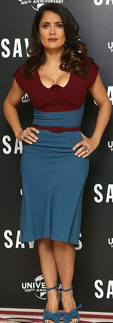 Who made Salma Hayek's blue bow sandals and two tone belted dress that she wore in London on September 19, 2012?