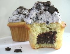 Brownie-Filled Cupcakes with Cookies and Cream Buttercream