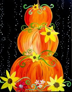 Learn to Paint Whimsical Pumpkins tonight at Paint Nite! Our artists know exactly how to teach painters of all levels - give it a try! Fall Canvas Painting, Autumn Painting, Autumn Art, Diy Painting, Painting & Drawing, Canvas Painting Designs, Fall Paintings, Canvas Paintings, Halloween Canvas