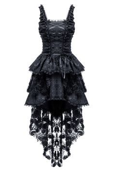 Elegant gothic jacquard fishtail dress with three-dimensional flowers(price is not including petticoat) Punk Dress, Goth Dress, Pretty Outfits, Pretty Dresses, Beautiful Dresses, Lolita Fashion, Gothic Fashion, Rock Fashion, Mode Sombre