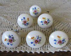 6 Vintage Ceramic Drawer Pulls Knobs by ElizabethJaneCottage