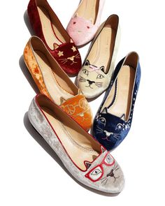 Clever Kitty Velvet Slippers by Charlotte Olympia