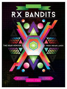 RX Bandits ~ Center Stage ~ Atlanta #RXBANDITS #RXB #ATLANTA #CENTERSTAGE #THEDEARHUNTER #HOTLANTA #FROMINDIANLAKES #MUSIC #ROCK #CONCERT #POSTER #DESIGN #SPACE #GALAXY #GEOMETRIC