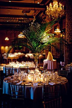 Flower less tablescape with palm leaves