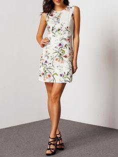 Vestido sin manga flores con cremallera-Sheinside