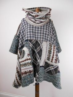 Upcycled Poncho Cape / Recycled Sweater Poncho by Tailortrash