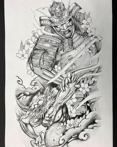 Samurai and oni design for a fullsleeve. Samurai Tattoo Sleeve, Samurai Warrior Tattoo, Warrior Tattoos, Japanese Tattoo Art, Japanese Tattoo Designs, Japanese Sleeve Tattoos, Hanya Tattoo, Samurai Artwork, Tattoo Und Piercing