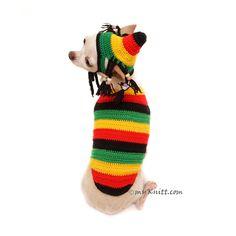 Rastafarian Dog Costume, Chihuahua Clothes by Myknitt  #bobmarley #bobmarleycostume #dogcostume #funnydogcostume #rastamania #rastafarian #crochetdoghat #chihuahuafunny #funnydogpic #myknitt