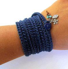 Crochet wrap charm bracelet or necklace in navy by CoffyCrochet