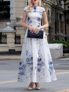 A-line Stand Collar Vintage Short Sleeve Maxi Dress