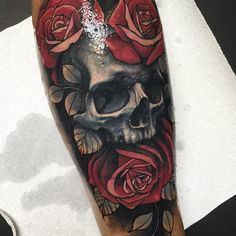 A skull and roses tattoo piece by artist london reese. Skull Rose Tattoos, Skull Sleeve Tattoos, Rose Tattoos For Men, Key Tattoos, Foot Tattoos, Body Art Tattoos, Tattoos For Guys, Butterfly Tattoos, Flower Tattoos